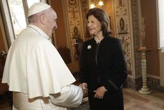Pope Francis and Queen Silvia of Sweden attend a conference at the Vatican. Queen Of Sweden, Swedish Royalty, Queen Silvia, Academy Of Sciences, Vatican City, Pope Francis, Conference, Royal Families, November