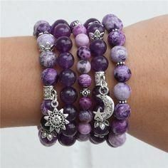 "Charoite - purple miracle of Siberia, bracelets. A rich range of purple colors of charoite called ""purple miracle of Siberia"". So gorgeous … レ O √ 乇 Purple Love, All Things Purple, Shades Of Purple, Purple Colors, Purple Stuff, Silver Bracelets, Beaded Bracelets, Bangles, Beaded Jewelry"