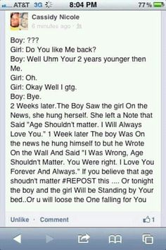 not because i am agfraid that if i dont the bad thing will happen but because age shouldnt matter