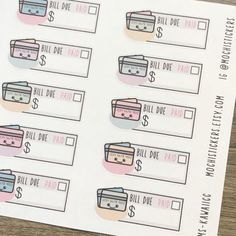 Super cute credit card bill pay reminder stickers! Great for your planners! Sticker sheet measures 4x6 inches.  Design has been sketched, drawn on