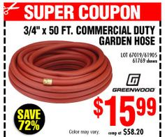 Perfect From Harborfreight.com · 3/4 In. X 50 Ft. Commercial Duty Garden Hose Photo Gallery
