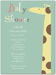 Baby shower invitation, Gentle Giraffe