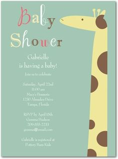 Baby shower invitation, Gentle Giraffe