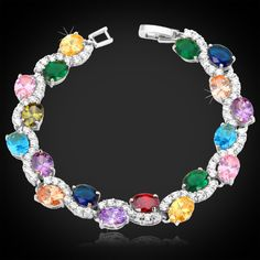 U7 Luxury AAA Zirconia Bracelets Bangles Women Gift New Trendy 18K Real Gold Plated Fashion Zircon Jewelry Chain Bracelet