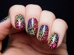 Tropical Rainbow Leopard Print - China Glaze City Flourish Nail Art via @Chalkboard Nails #nailart #leopard