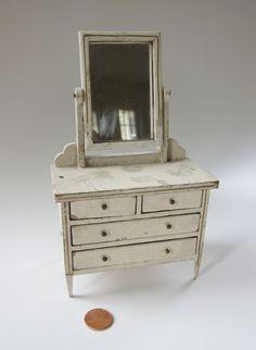 antique dollhouse | Antique Miniature Dollhouse Mirrored Dresser
