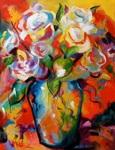 'Hints of Picasso' Floral Flower Roses Art Spring Colorful Blooms in a Vase by Texas Artist Laurie Pace, painting by artist Laurie Justus Pace