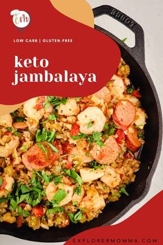 Keto jambalaya will add some spice to your low carb family dinner! Gluten-free with cauliflower rice, andouille sausage, shrimp, and chicken. The perfect one-pot meal. Diet Recipes, Cooking Recipes, Healthy Recipes, Health Dinner, Clean Diet, Jambalaya, Cauliflower Rice, One Pot Meals, Shrimp
