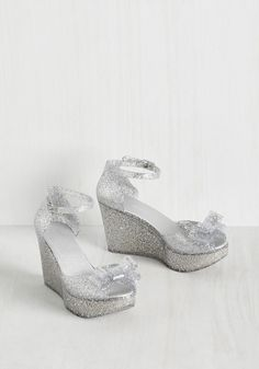 A Joy to Be Bold Wedge in Twinkling Silver. Let these jelly wedges bring a stunning smile to your face! #silver #modcloth