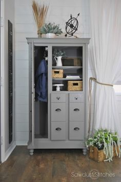 Dresser Re-Purposed into a Shoe Locker - it's a dresser on its SIDE. This transformation is amazing.