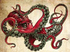 55 Eye-Catching Octopus Tattoos Ideas for Men and Women, . : 55 Eye-Catching Octopus Tattoos Ideas for Men and Women, Octopus Tattoo Design, Octopus Tattoos, Art And Illustration, Le Kraken, Motifs Animal, Arte Sketchbook, Tatoo Art, Sea Monsters, Cool Art
