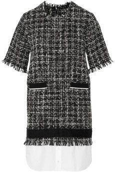 MSGM Poplin-hem bouclé-tweed dress | NET-A-PORTER