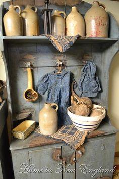 primitive life Love the blue Primitive Quilts, Country Primitive, Primitive Homes, Primitive Kitchen, Primitive Furniture, Primitive Antiques, Country Furniture, Primitive Decor, Primitive Bedroom