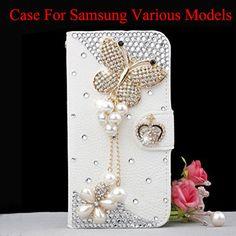 a81ff652990 £4.74 GBP - Bling Diy Diamonds Lover Butterfly Wallet Flip Case Skin Cover  For Samsungmodel