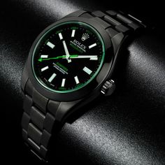 rolex milgauss green glass black pvd coated by bamford watch department