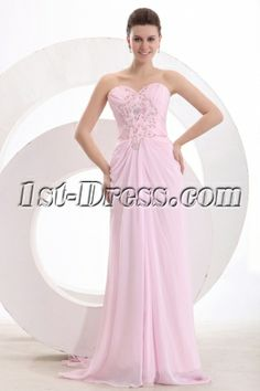 Chic Pink Chiffon Column Long Engage Dress:1st-dress.com