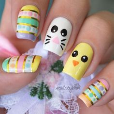 Adorable Easter Nail Art Designs You Must Try Easter nails; Egg And Bunny Nail Art Designs; Easter Nail Designs, Gel Nail Art Designs, Easter Nail Art, Nail Designs Spring, Cute Nail Designs, Nails Design, Simple Designs, Spring Nail Art, Spring Nails