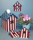 Americana Birdhouse Home Decor Set, craftdesigns4you.com -- Cherie has many wonderful sewing patterns for plastic canvas, cross stitch and other needle crafts. I would like to buy this pattern!