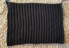 This Black Beanie Crochet Pattern has a classic design, but is made a little differently than your typical crocheted hat. It's worked as a rectangle and then sewn into a hat. Ribbed Crochet, Crochet Yarn, Hand Crochet, Headband Crochet, Crochet Potholders, Crocheted Hats, Chrochet, Free Crochet, Crochet Beanie Hat Free Pattern