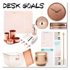 """""""Copper desk"""" by rachelbarkhodesigns ❤ liked on Polyvore featuring interior, interiors, interior design, home, home decor, interior decorating, Sugar Paper, U Brands, Ted Baker and Umbra"""