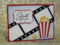 "Popcorn and a Movie. This could be applied to a popcorn gift or ""Just popping over..to see how you're doing."""