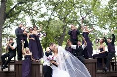Love the bridal party cheering on the bride and groom! I think our bridal party will have fun with something like this :)