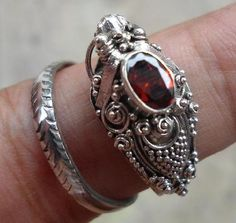 2 Photons gifted with Purchase STERLING SILVER 925 BALINESE DRAGON RING WITH GARNET NEW FREE SIZE