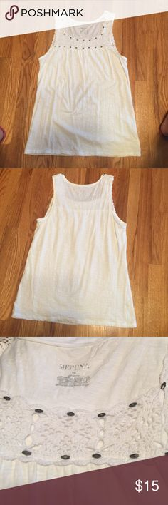 Merona White Long Tank White cotton long sleeveless tank, soft and comfortable Merona Tops Tank Tops