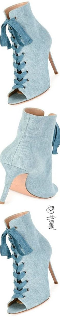 c92e94ccd #gianvitorossi #eleganzadiria Rossi Shoes, Denim Shoes, Sexy High Heels,  Bootie Boots