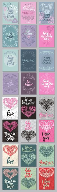 Vector romantic cards collection by Fancy art on Valentine Crafts, Valentine Day Cards, Valentines, Calligraphy Quotes Doodles, Printable Planner Stickers, Printables, Diy And Crafts, Paper Crafts, Romantic Cards