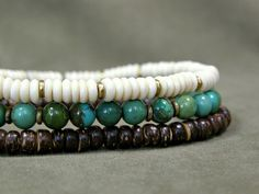 Mens Bracelet - Turquoise Bracelet Set - Stretch Bracelets - Man Jewlery - Guy Jewelry - Multi Bracelet Set. $38.00, via Etsy.