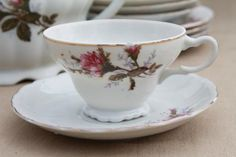 old moss rose pattern dishes | ... Moss Rose china made in Japan porcelain tea set w/ teapot & dishes