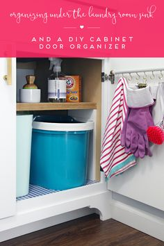 IHeart Organizing: Organizing Under the Laundry Room Sink & a DIY Cabinet Door Organizer