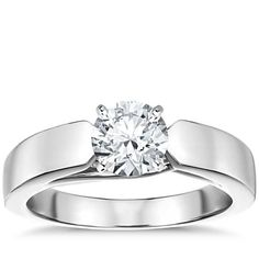 Flat Tapered Solitaire Engagement Ring in 14k White Gold (4mm)