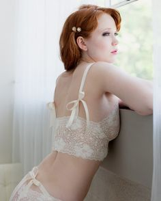 Bridal Bra In Ivory French Lace -  Sassafras  Bra With Satin Ribbons - Lingerie  Made To Order 2c165f00c