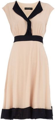 Nude colour block circle dress