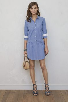 Our blue and white striped cotton shirtdress is casual and chic. This lightweight fabric makes for the perfect versatile weekend getaway piece | Banana Republic