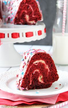 Red Velvet Cheesecake Bundt Cake | Life Love and Sugar