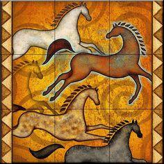 Southwest Horse 6 by Dan Morris - Kitchen Backsplash / Bathroom wall Tile Mural - Ceramic Tiles - Amazon.com