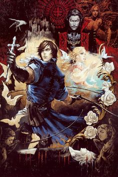 Dracula, Maria and Richter, Castlevania: The Dracula X Chronicles Video Game Posters, Video Game Characters, Video Game Art, Video Games, Castlevania Dracula, Castlevania Anime, Belmont Castlevania, Illustration Art Nouveau, Character Illustration