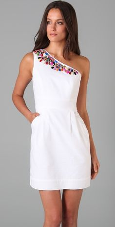 Beaded One Shoulder Dress