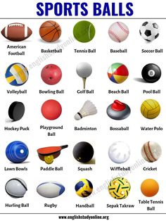 Sports Balls: List of 25 Popular Ball Games Around the World - English Study Online Learning English For Kids, English Lessons For Kids, Kids English, English Language Learning, English Study, Teaching English, English Games, English Verbs, English Vocabulary Words