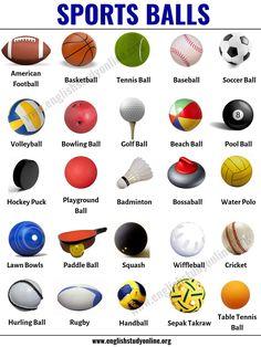 Sports Balls: List of 25 Popular Ball Games Around the World - English Study Online English Writing Skills, Learn English Grammar, English Vocabulary Words, Learn English Words, English Study, Math Vocabulary, Learning English For Kids, English Lessons For Kids, English Language Learning