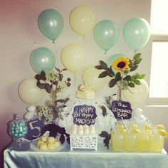 Vintage lemonade bar at a girl birthday party!  See more party ideas at CatchMyParty.com!