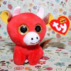 9745321c966 Mcdonalds happy meal toy ty teenie beanie boos 2017 snort the bull red 3.5