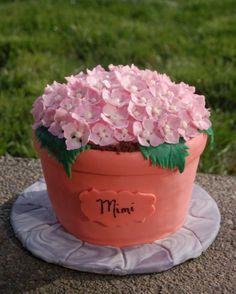 Mothers Day Cake....Hydrangea - Flower pot with gumpaste hydrangea