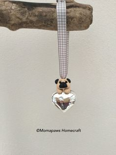 Pug on Small Glass heart, little Dog on heart Unique Handmade Ornament unusual by MomapawsHomecraft on Etsy