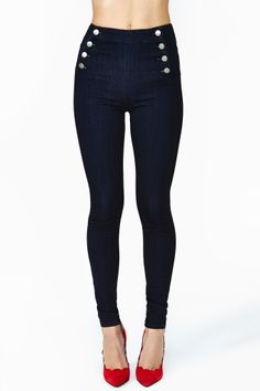 Sail Along Skinny Jeans-high-waisted with lovely buttons on both sides