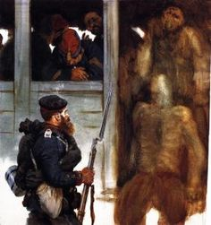 Soldier of the Prussian Landwehr and French Prisoners - Adolph von Menzel  - 1871 - The Athenaeum