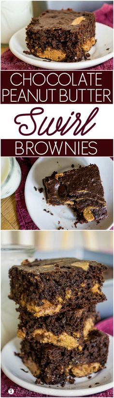 These gluten-free Chocolate Peanut Butter Swirl Brownies are the perfect combo of rich and hearty. | RaiasRecipes.com #glutenfree